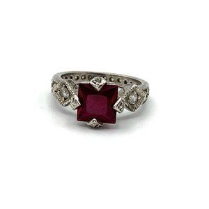 Jewelry - Square Ruby Ring Art Deco Sterling Silver Crystal